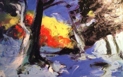 Eugenio Guarini – Tramonto dal bosco innevato